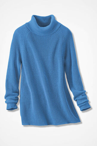 Shaker Turtleneck Tunic, Tahoe Blue, large