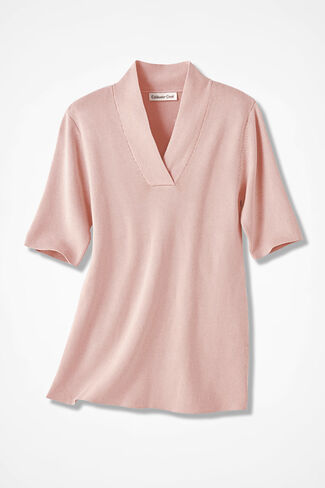 Crossover V-Neck Pullover, Blush, large
