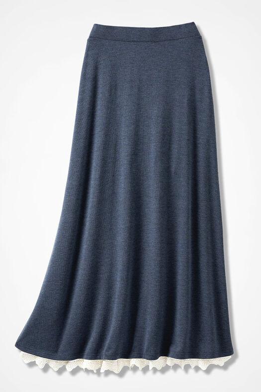 Sweep-n-Swirl Knit Maxi Skirt, Blue Indigo, large