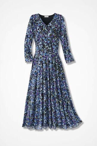 Autumn Seas Mesh Knit Dress, Blue Multi, large