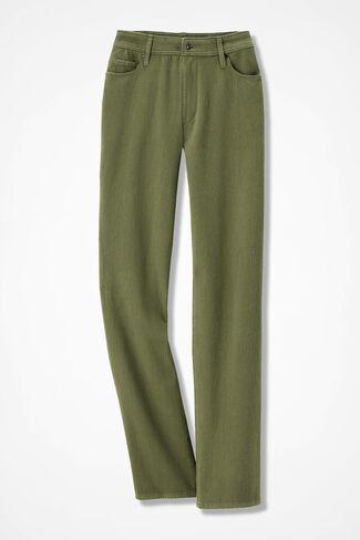 Knit Denim Straight-Leg Jeans, Loden, large
