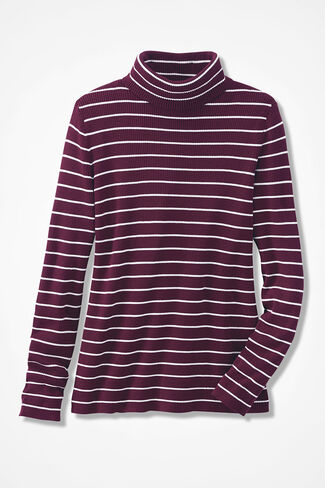 Striped Ribbed Turtleneck Sweater, Wine, large