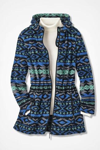 Yuma Print Great Outdoors Fleece Anorak, Cobalt Multi, large