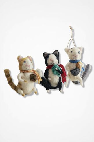 Knitting Cats Ornaments, Multi, large