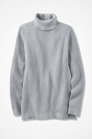 Diamond Rib Tunic Sweater, Light Heather Grey, large