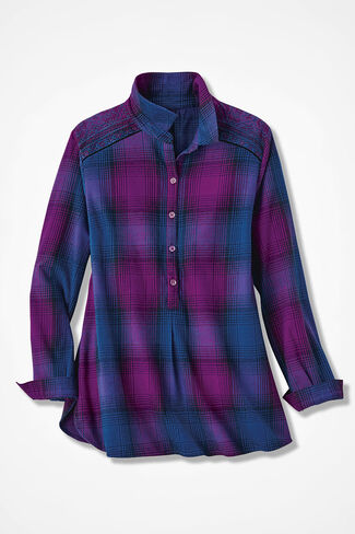 Embroidered Plaid Popover, Lapis/Currant, large