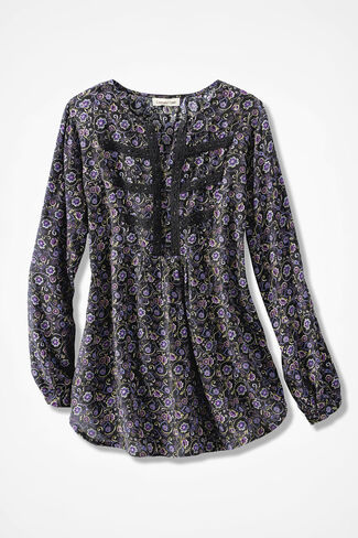 Millefleurs Crochet-Trim Tunic, Black Multi, large