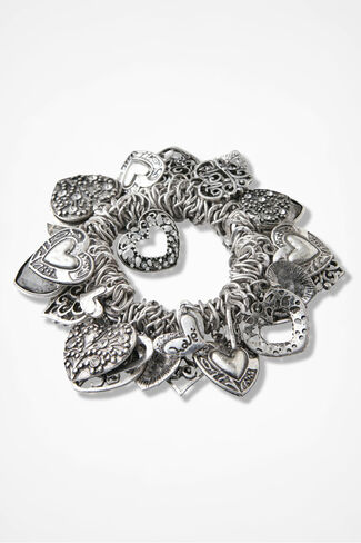 Infinite Hearts Stretch Bracelet, Silver, large