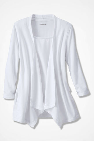 French Terry Flyaway Cardigan, White, large