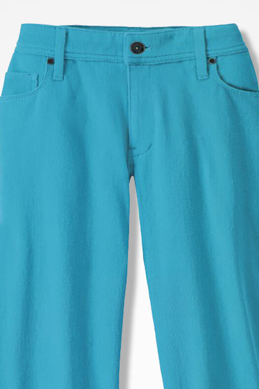 Knit Denim Cropped Jeans, Deep Turquoise, large