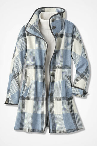 Positively Plaid Coat, Blue Multi, large