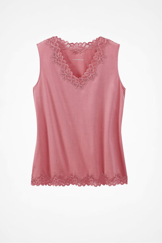Double Lace Tank, Desert Rose, large