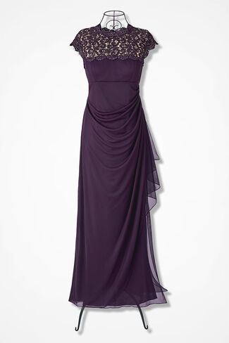 Lace Whisper Dress by Alex Evenings, Eggplant, large