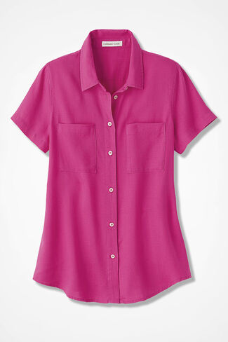 NEW Relaxed Tencel® Shirt, Bright Pink, large