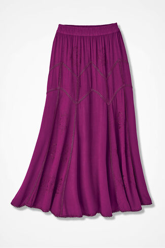 Embroidered Jacquard Skirt, Currant, large