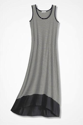 Timeless Stripes Hi-Lo Dress, Black/White, large