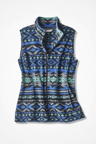 Yuma Print Great Outdoors Fleece Vest, Cobalt Multi, large