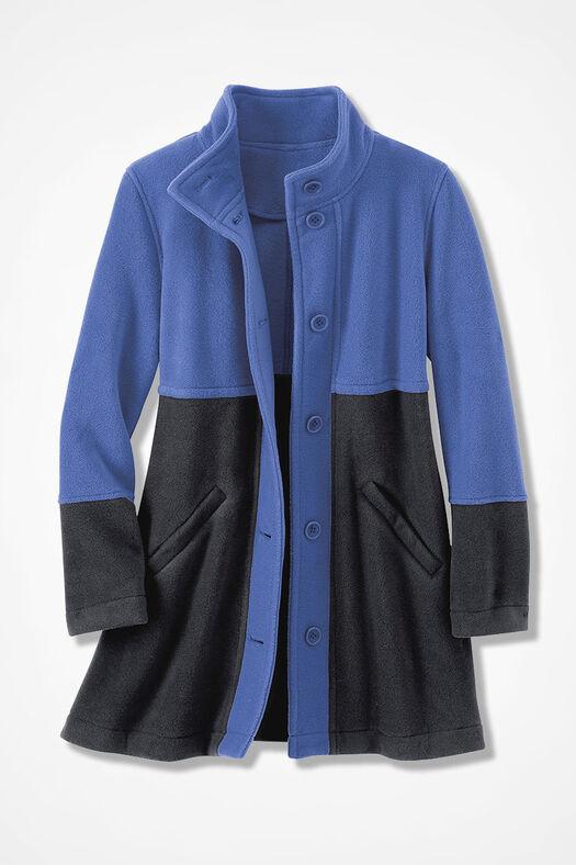 Colorblock A-line Fleece Coat, Iris Blue, large