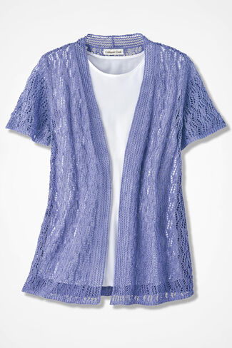 Breezy Open Pointelle Cardigan, Perfect Peri, large