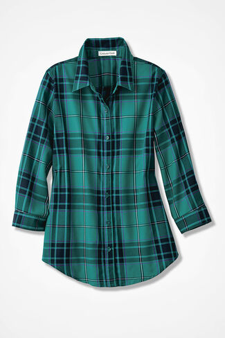 Festive Plaid Easy Care Shirt, Emerald, large