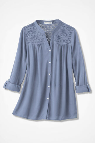 Love of Lace Tunic, Dusty Blue, large