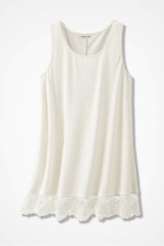 Lace Border Long Tank, Antique White, large