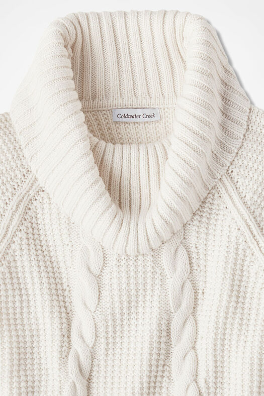 Soft-and-Mellow Cabled Cowlneck, Ivory, large