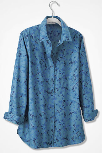Flourishing Vines Anytime Easy Care Tunic, Lagoon Multi, large