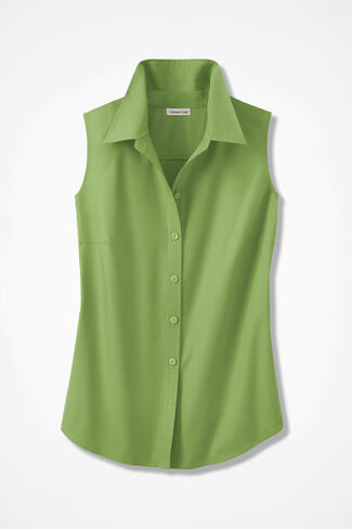 Sleeveless Easy Care Shirt, Mountain Green, large