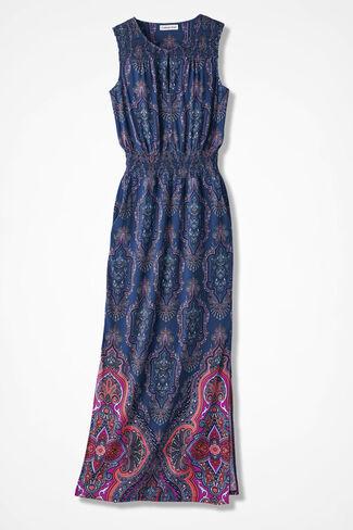 Tile Print Maxi Dress, India Ink, large