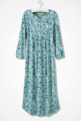 Snowflake Knit Nightgown, Aqua, large