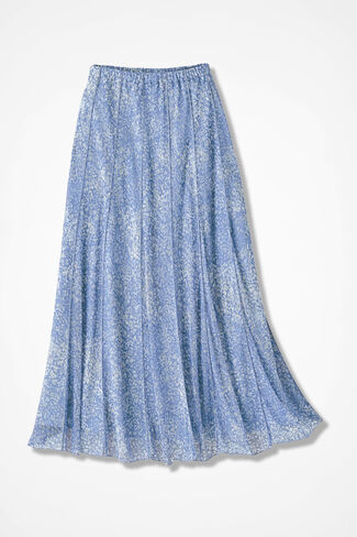 Meadowprint Mesh Knit Skirt, Antique Blue, large
