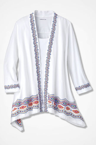 Brilliant Borders Embroidered Cardigan, White, large