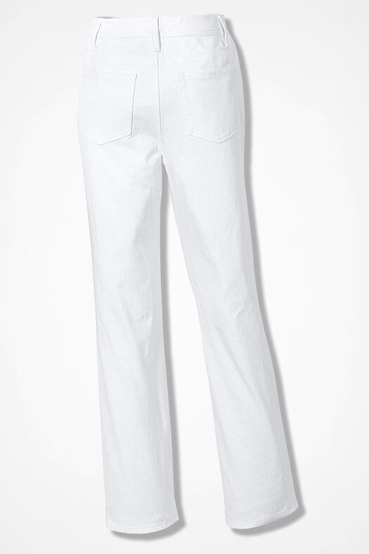 Knit Denim Straight-Leg Jeans, White, large