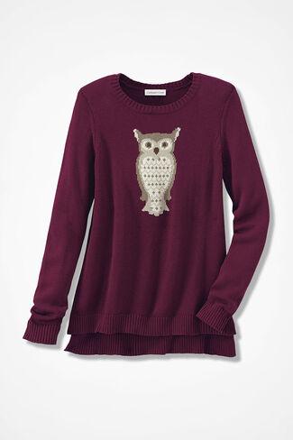 Wise Eyes Owl Sweater, Wine, large