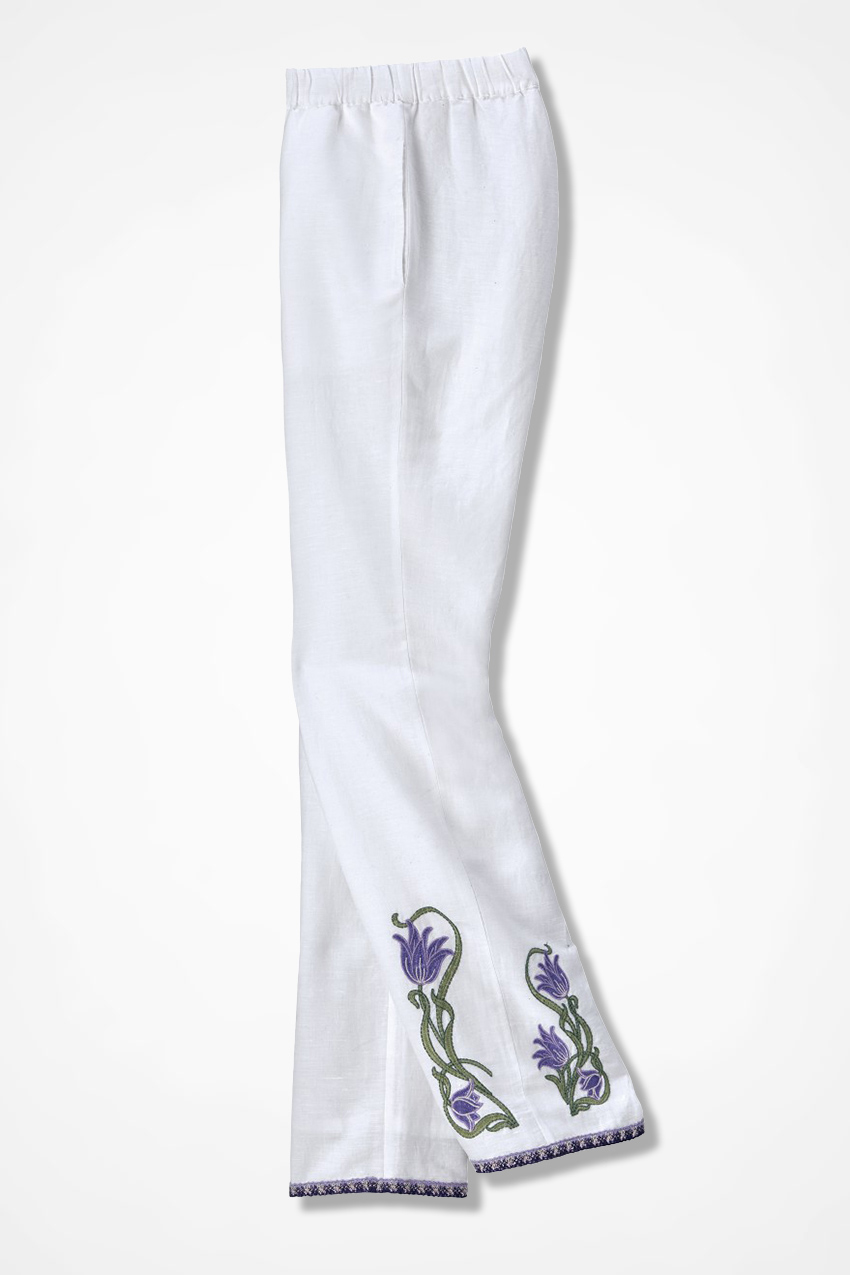 Bellflower embroidered linen pants coldwater creek