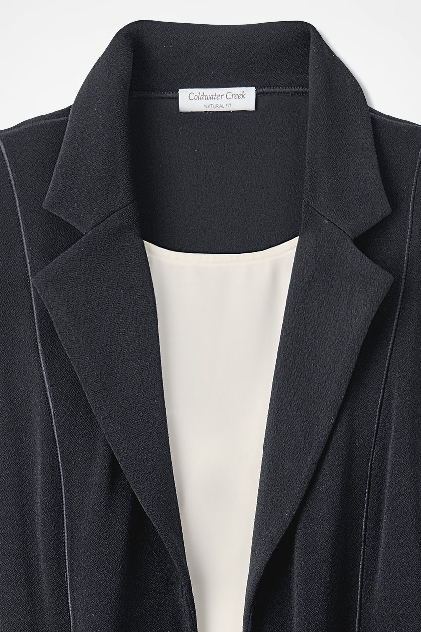signature knit crepe long swing jacket coldwater creek