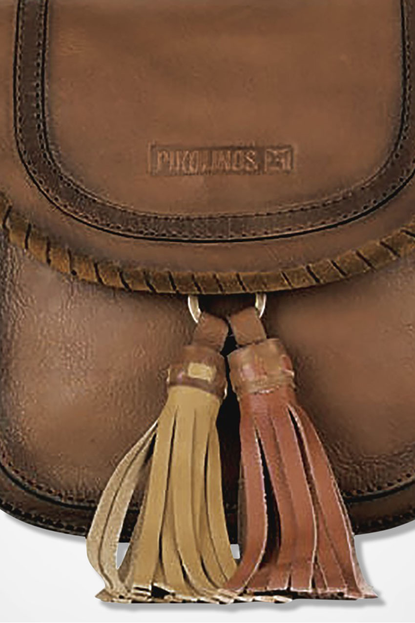 Double Tassel Leather Bag By Pikolinos Tan Large