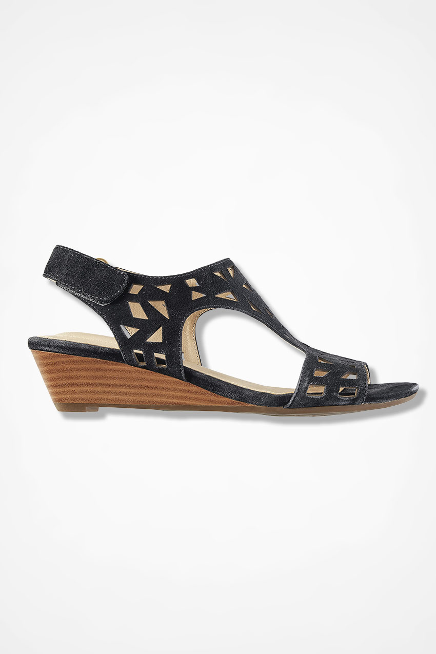 """""""Sienna"""" Leather and Suede Wedge Sandals by Me Too®, Black, large. Wide  Width · """""""
