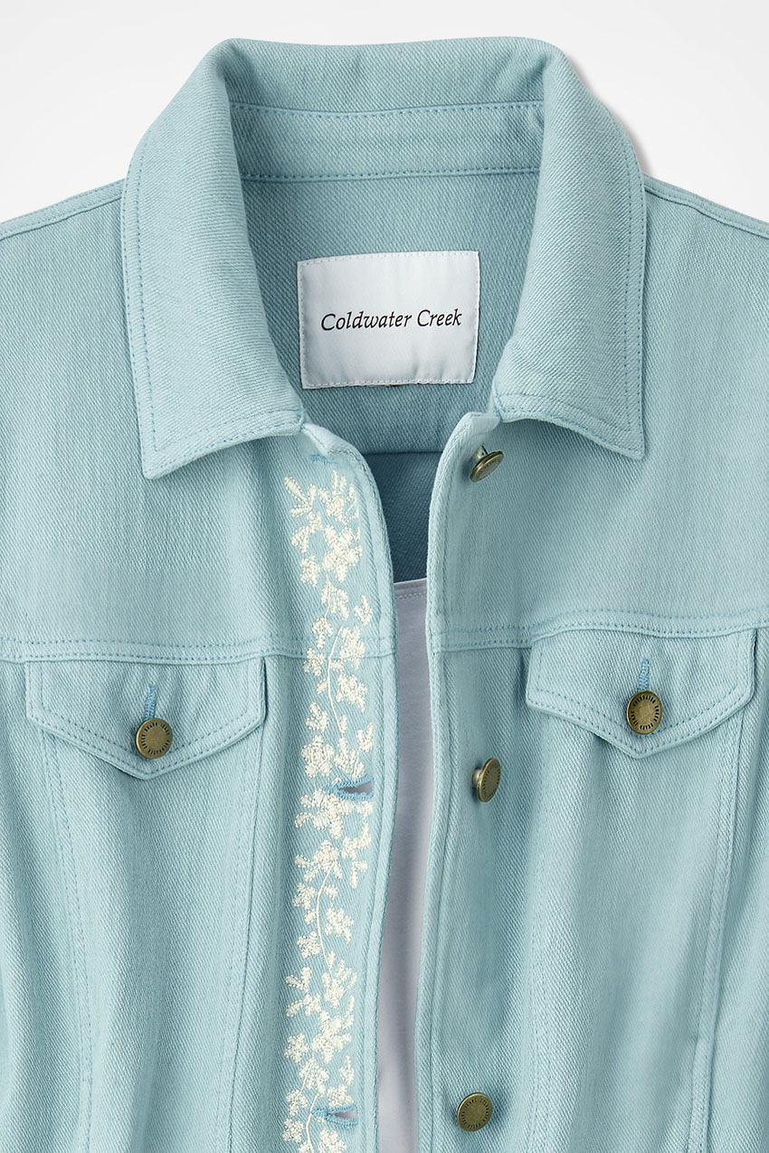 Embroidered knit denim jacket coldwater creek