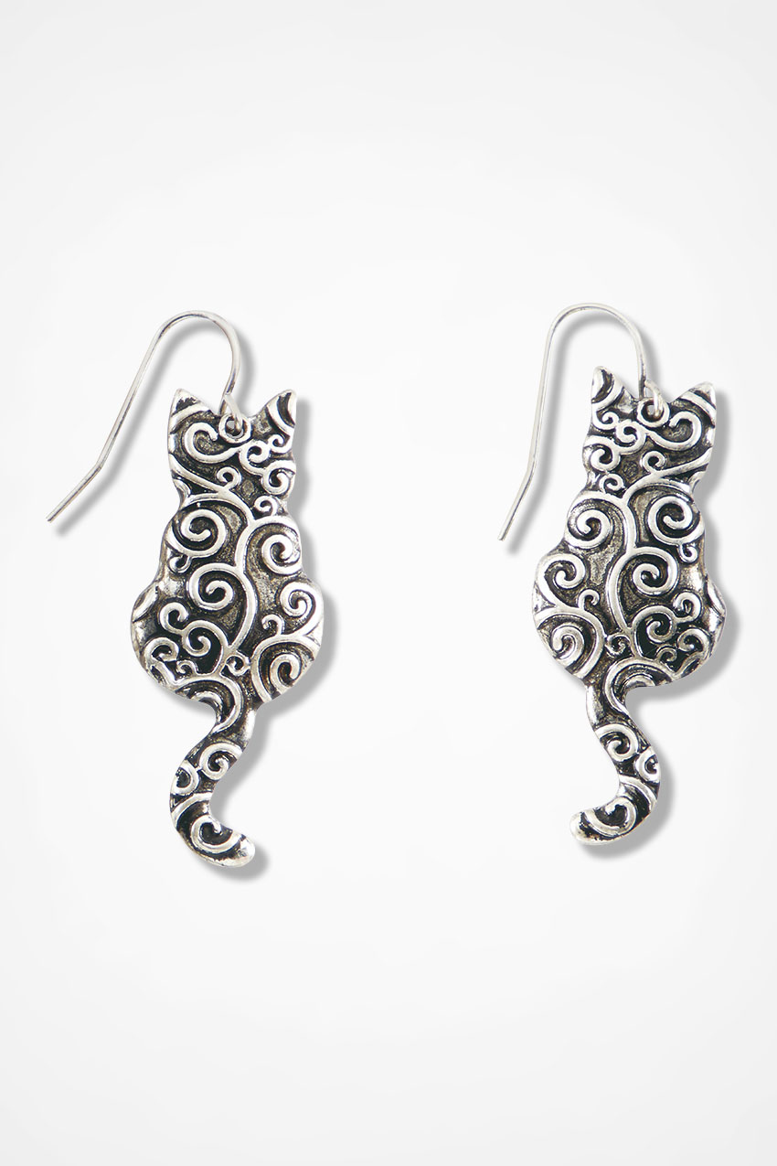 Cat S Meow Earrings Silver Large