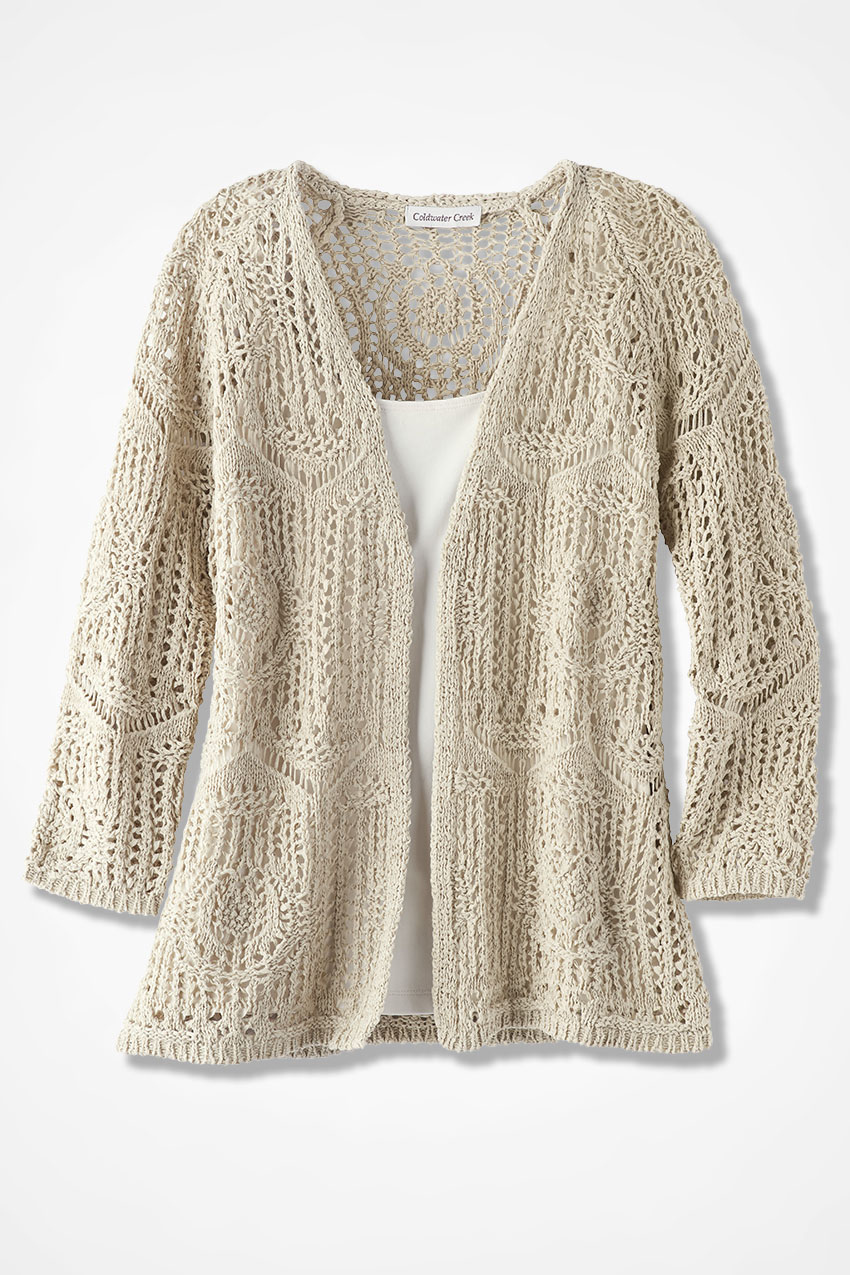 Cardigans And Necklaces: Open Crochet Cardigan - Women's Sweaters