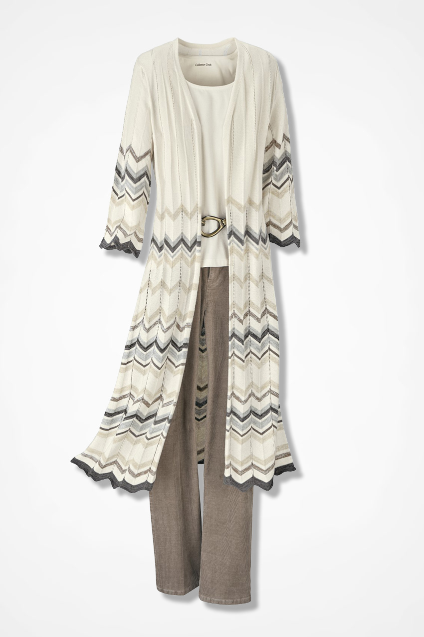 Chevron Pointelle Duster Sweater - Coldwater Creek