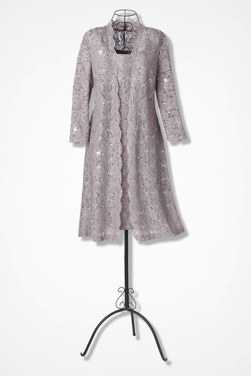 Lace Overlay Duster Dress by Alex Evenings - Coldwater Creek