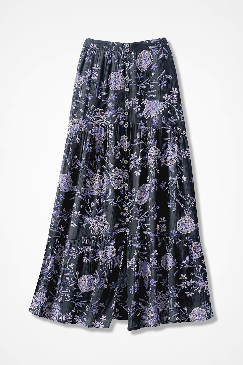 f0ada2641b7 Shadow in Bloom Crinkle Maxi Skirt - Coldwater Creek