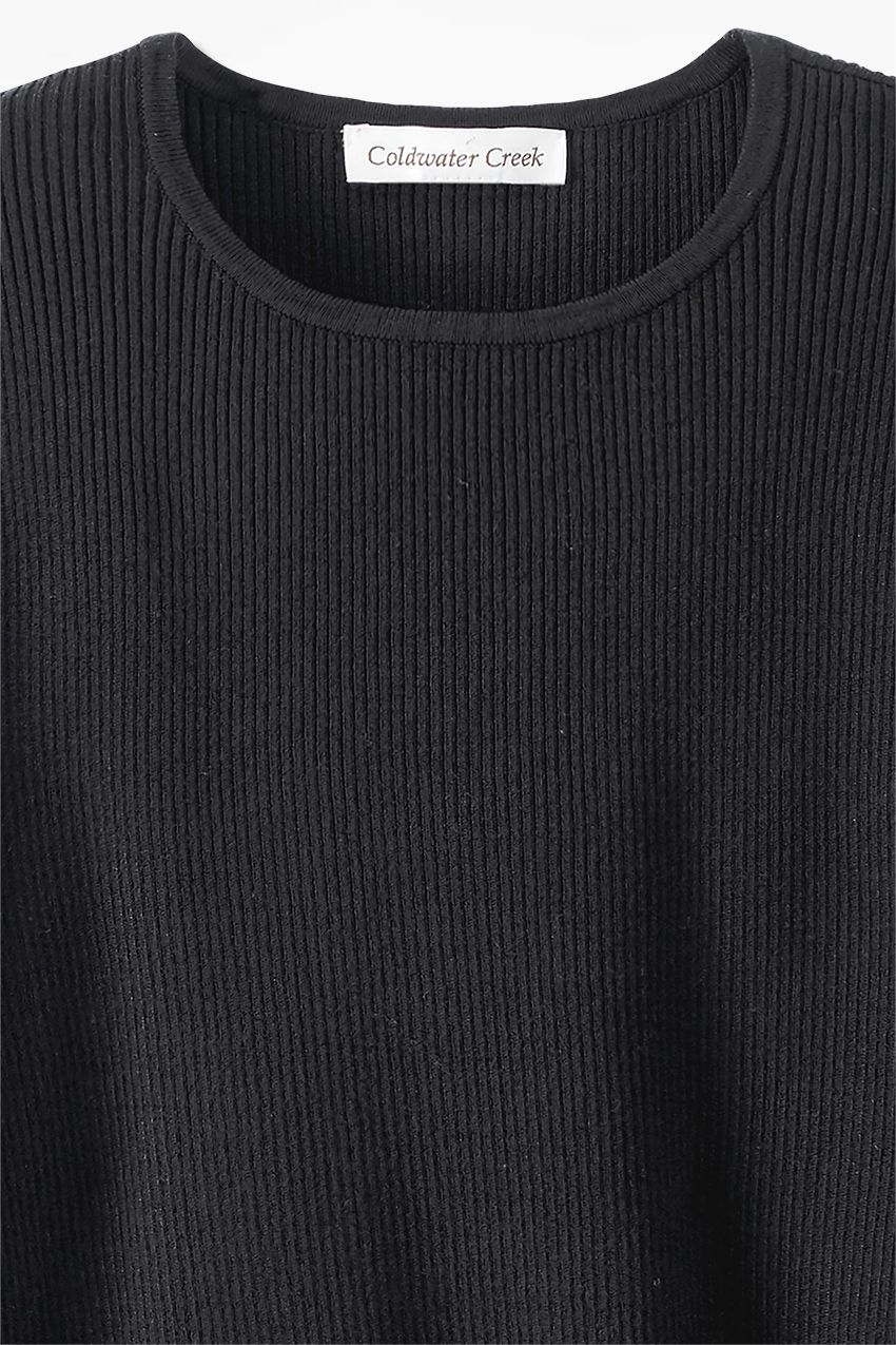 Long Sleeve Ribbed Sweater - Coldwater Creek