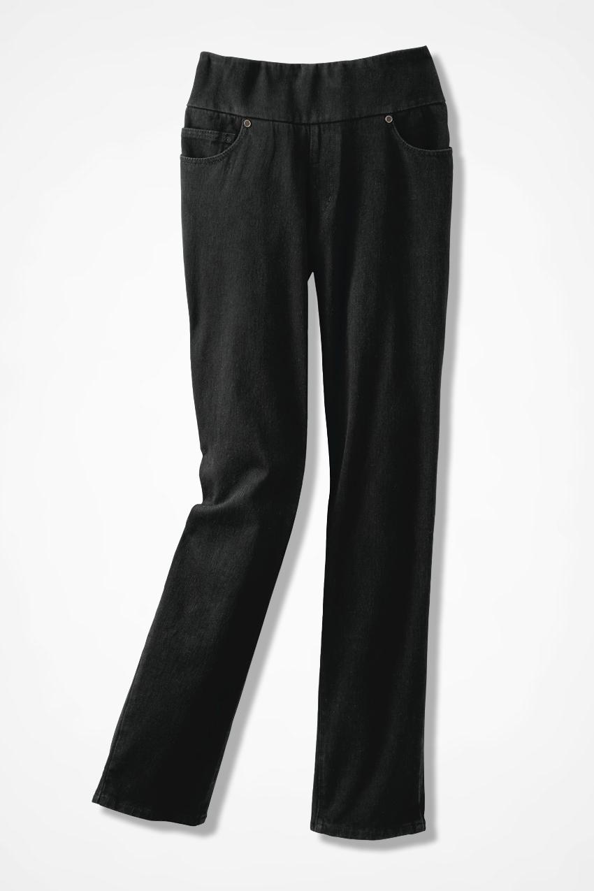 Knit Denim Pull-On Slim-Leg Jeans - Coldwater Creek