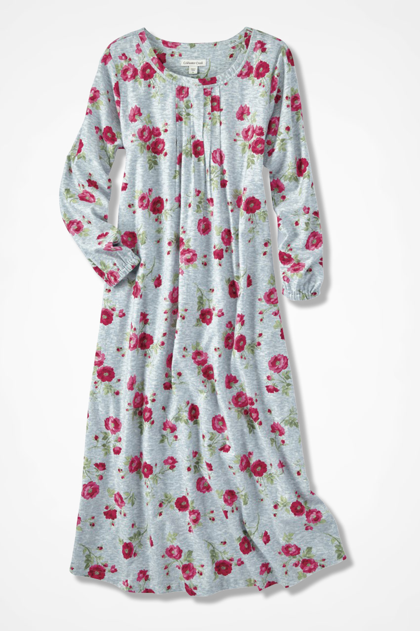 Winter Blooms Print Flannel Nightgown - Coldwater Creek