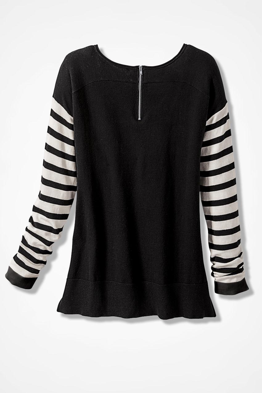 Striped-n-Solid Zip-Back Sweater - Women's Sweaters | Coldwater Creek