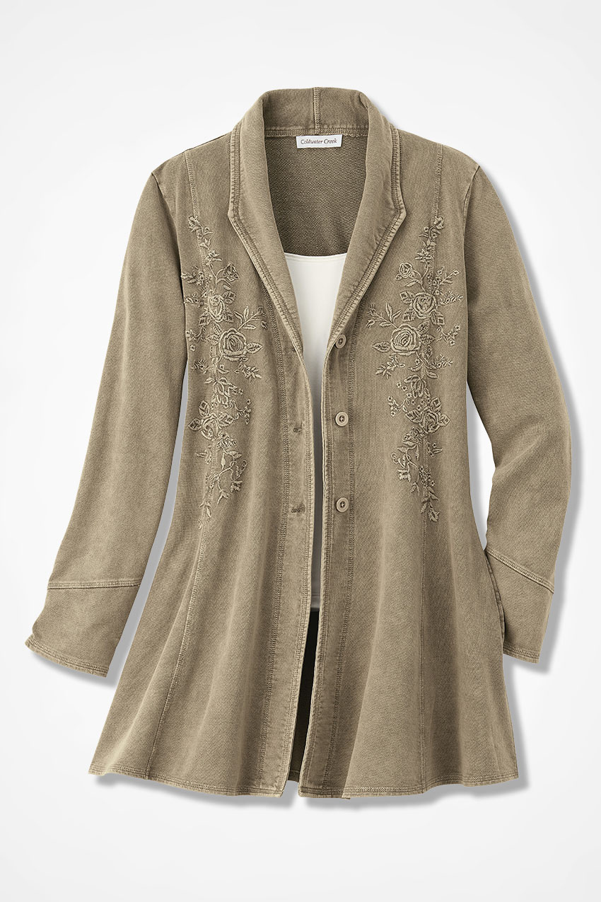 Embroidered french terry jacket coldwater creek